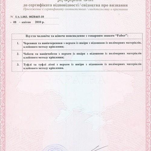 Дополнение к сертификату соответствия 2010г.