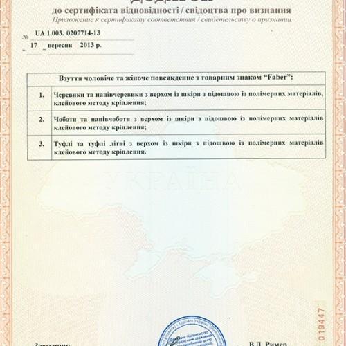 Дополнение к сертификату соответствия 2013 г.
